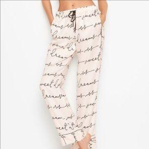 Victoria secret silky pajama pants with writing XL